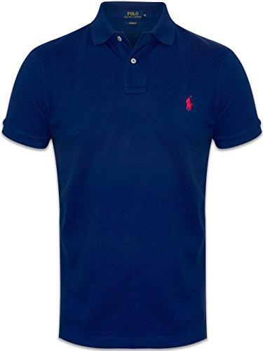 Ralph Lauren Poloshirt small pony, Custom Fit, NEU verschiedene Farben, OVP (XXL, Navy / rot Pony) (Herren Rot Ralph Lauren Tshirt)