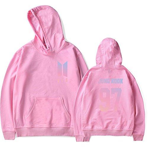 SIMYJOY Lovers BTS Fans Felpa con cappuccio KPOP Pullover Hip Hop Felpa Top per Uomo Donna Adolescente 97 rosa