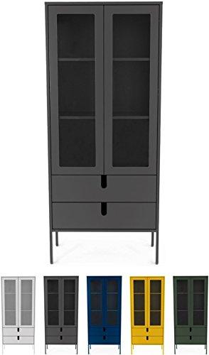 tenzo 8565-014 UNO Designer Vitrine 2 Portes, 2 tiroirs, Gris, MDF Particules ép. 19 et 16 mm Panneau arrière laqué. Poignées en matière Plastique, 178 x 76 x 40 cm (HxLxP)
