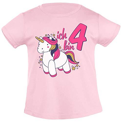 Ich Bin Vier Einhorn Geburtstags Mädchen Mädchen T-Shirt 96/104 (3-4J) Rosa - Mädchen Geschenke 3-jähriges