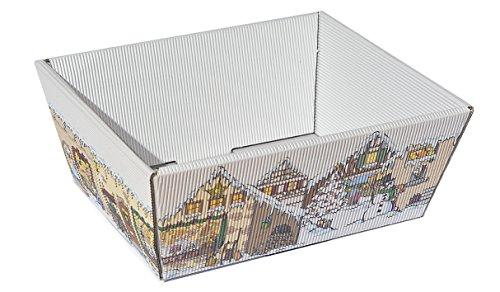 10 Stück Präsentkorb Weihnachtsmarkt klein, Geschenkkorb, Wellpappkorb, Präsentkorb, Größe: klein