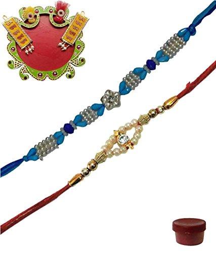 Adiari Fashion Set of 2 Multicolored Beads Stone Bracelet Rakhi Combo with Thali for Men