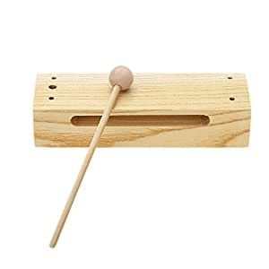 Andoer® Wooden Percussion Block Woodblock with Mallet Exquisite Kid Children Musical Toy Percussion Instrument