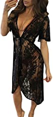 Boldgal Women's One Piece Lace Tassel Cover-up (Black)