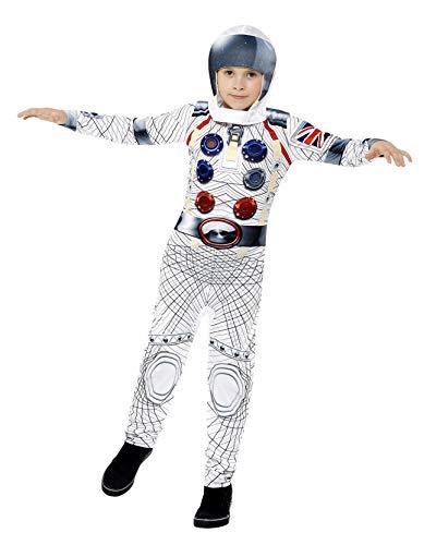 Kid Kostüm Astronauten - Smiffys Kinder Deluxe Astronaut Kostüm, Jumpsuit und Kapuze, Größe: M, 43180