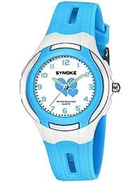 SYNOKE - Reloj Infantil Cuarzo para Niños Niñas Estudiantes con Analógico Impermeable Deportivo Redondo Colorido Regalo
