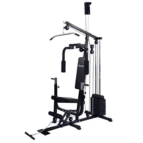 Kraftstation Multistation Fitnessstation Trainingsstation Multistation Heimtrainer inkl. Gewichte schwarz