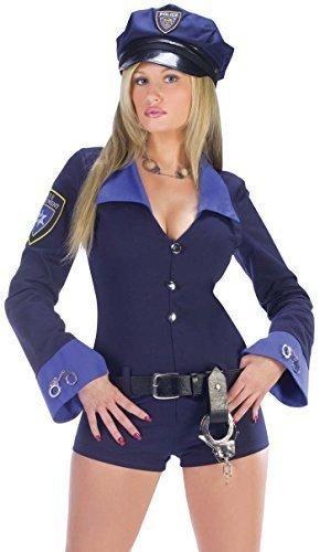 Damen 4-teiliges Sexy Polizei Frau Kupfer Hen Do Spielanzug Polizistin Kostüm, UK 10-12 - Blau, (Polizistin Kostüm Spielanzug)