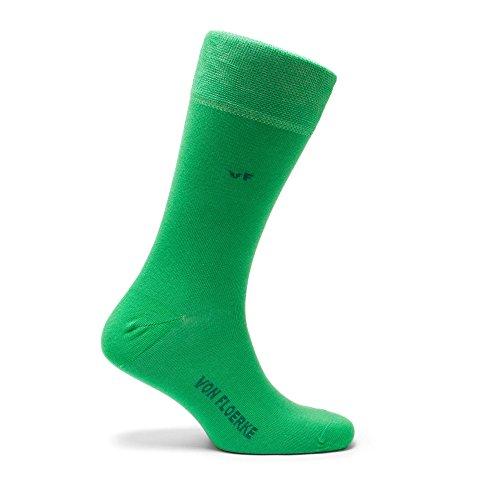 VON FLOERKE handgekettelte Business-Socken / farbige Herrensocken / Smoking-Strümpfe aus ägyptischer Baumwolle / bunte Baumwollsocken ohne Naht / Grün