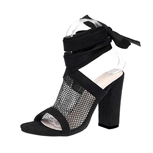 Fuibo Elegant Sandalette | Frauen Damen Krawatte Lace Up Sandalen Knöchel Mesh High Heels Block Party Schuhe (37, Schwarz) (Multi-schnalle Sandalen)