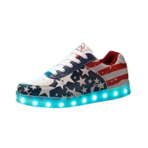 (Présents:petite serviette)JUNGLEST® Chaussures Led 7 Couleurs Étoile MotifS neakers Usb Charge B