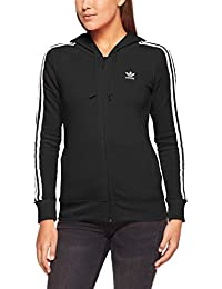 Adidas 3Str Zip Chaqueta, Mujer, Negro, 30