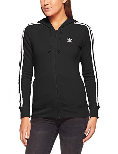 adidas Damen 3-Stripes Kapuzenjacke, Black, 36