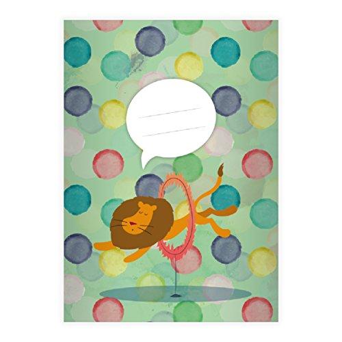Kartenkaufrausch 1 Lustiges Zirkus Löwen DIN A4 Grundschul Hefte mit Punkten auf grün Kontrastlineatur 1