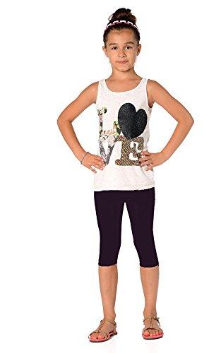 Kinder 3/4 Leggings in 22 Farben Baumwolle, Gr. 92 bis 158 cm, p701 Pflaume 146 - Pflaume Rohr