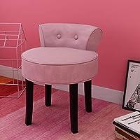LEPAK Dressing Table Chair Vanity Stool with Low Backrest Black Rubberwood Legs Padded Velvet Seat Reception Chair,Pink
