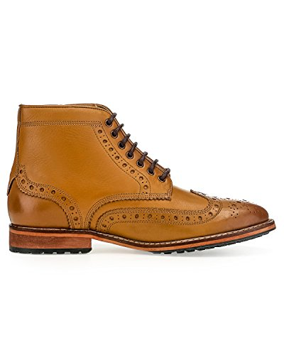 LYLE & SCOTT Hommes Deveron Cuir Brogue Boot Tan Marron Clair