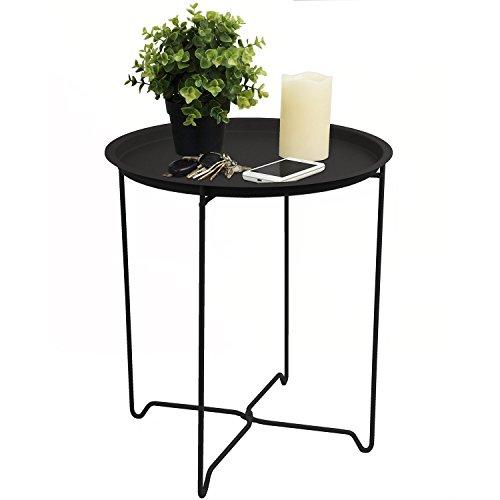Beistelltisch 41x48cm C010 Schwarz mit Rand Couchtisch Wohnzimmertisch Kaffeetisch