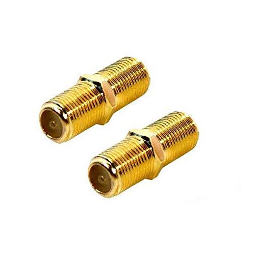 F-Verbinder Sat Kupplung Verbinder Vergoldet F-Stecker Kupplung/Sat Kabel Adapter Verlängerung für SAT Antennenkabel/Koaxialkabel/BK Anlagen 2 Stück(Verbinder, 2X F-Verbinder)