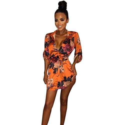 Kleider Damen PINEsong Frauen Kimono Vintage Retro Elegante Blumenmuster Satin Silk V-Ausschnitt T-Shirt Losen Bluse Sommerkleid Strandkleid Partykleid Pyjama Schlafkleid Bademantel (S, Orange)