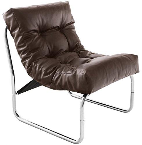 Loungesessel Sessel Relaxsessel CLUB braun Kunstleder mit Knopfheftung
