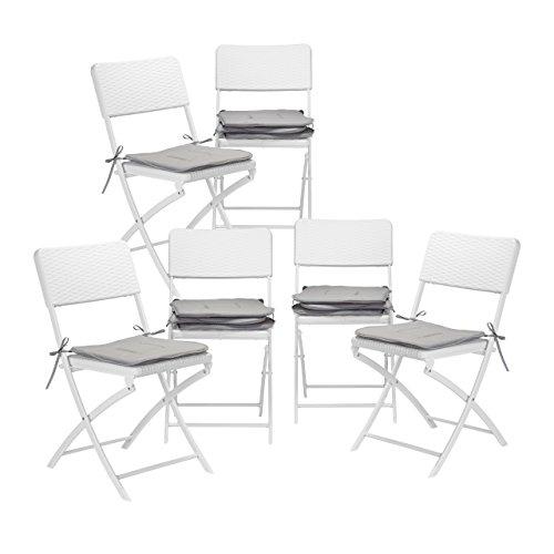 12x Stuhlkissen, Sitzkissen mit Schleife, Auflage für Stühle in Haus und Garten, waschbar, Stuhlauflage, Polyester, grau
