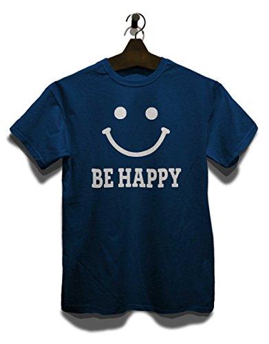 Be Happy T-Shirt Navy Blau