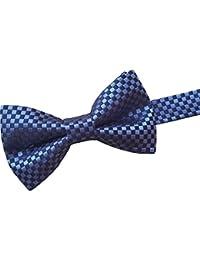 Herren 100% Seide Fliege - Blau und Marineblau Scheck