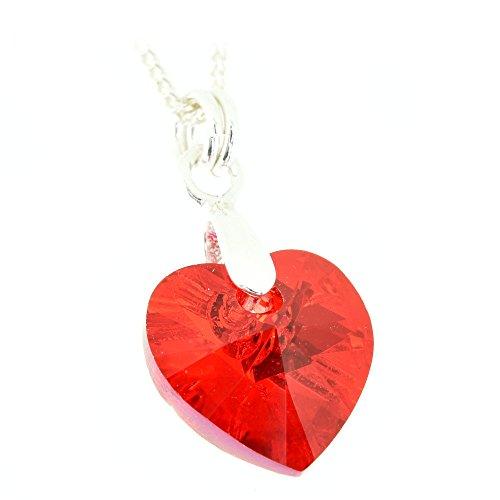 pewterhooter 925Sterling Silber Anhänger und Kette Made mit einem Light Siam rot Kristall Herz Von Swarovski® für Frauen