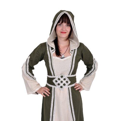 Robe médiévale Cassandra vert olive et écru Multicolore