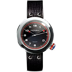 Chotovelli Gauge Men's Italian Watch Automotive Alfa dial Black leather Strap 80.03