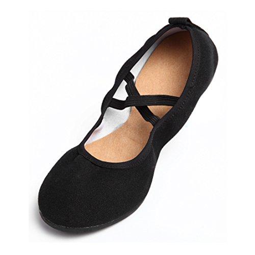 DorkasDE Damen Gymnastikschuhe Mädchen Tanzschuhe Kunstturnschuhe Ballett Schuhe Oxford Sohle Canvas Obermaterial Schwarz