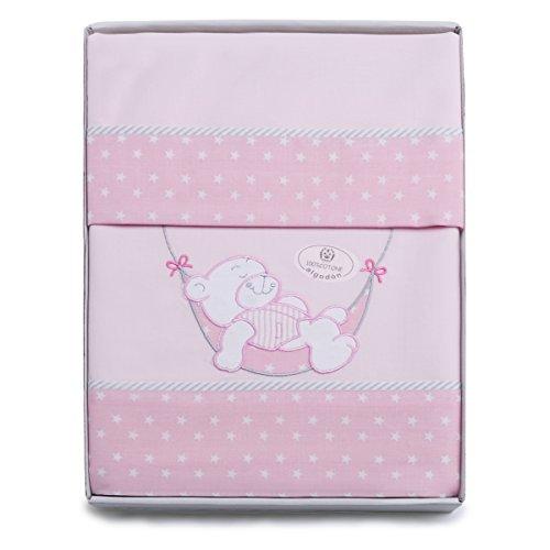PEKITAS 3-teiliges Bettwäsche-Set für Kinderwagen/Kinderwagen, 40 x 80 cm, 100{4ff42c9d4f86ec5f72f069880074d18fd6d1387b49b05c1feb2498fdc52ddad0} Baumwolle, in Geschenkverpackung (Kissenbezug + Bettlaken + Spannbettlaken mit Gummiband) Teddy Rosa