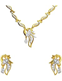 Mahi CZ Floral Peacock Gold Plated Necklace Set For Women NL1103664G
