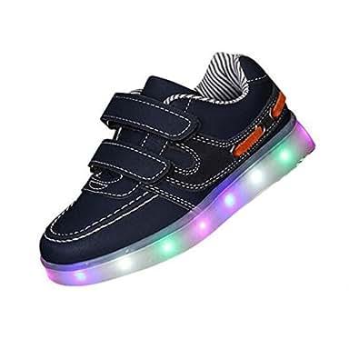 3STEAM 7 Farben LED Kinder, Jungen, Mädchen führte leuchten Trainer Sneakers Turnschuhe Sportschuhe blinken USB-Lade Schuhe (EU 25, black)