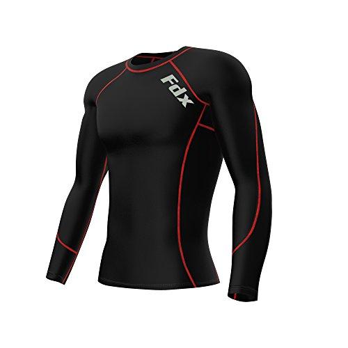 FDX Compression Armour Herren-Unterziehshirt, langes Thermo-Shirt für Sport und Fitnessstudio Größe L schwarz / rot - Tight-fit Compression Shirt