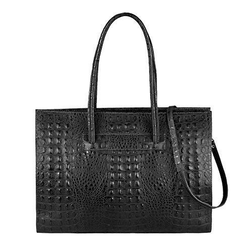 OBC Made in Italy Damen echt Leder Tasche Kroko-Prägung Business Shopper Aktentasche Schultertasche Handtasche Umhängetasche DIN-A4 Ledertasche (Schwarz (Kroko)) - Nappa-leder Große Tote