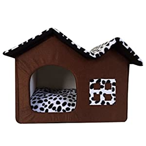 LvRao Haustier Haus Hund Katze Bett Höhlenbett Faltbar abnehmbar Klein Hundehaus Hundehöhle Kuschelhöhle (Kaffee, S)