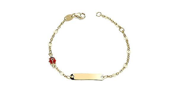 - personnalisable Gourmette Or 18 carats Coccinelle b/éb/é Sampedrito 14cm. Aa2602Gr enregistrement inclus dans le prix