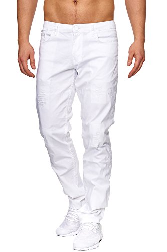 TAZZIO Slim Fit Herren Destroyed Look Stretch Jeans Hose Denim 16525 Weiss 32/32