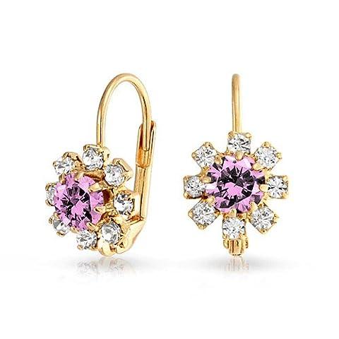 Bling Jewelry Fleur Améthyste simulé arrière rempli d'oreilles