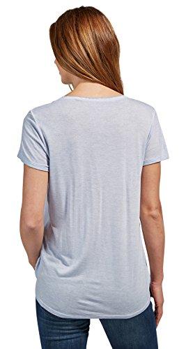 Tom Tailor für Frauen T-Shirt T-Shirt mit Stickerei und Tunnelzug brunnera  blue ...