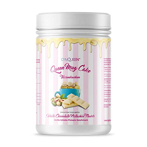 GymQueen Mug Cake 500g | High Protein Tassenkuchen für die Mikrowelle | wenig Zucker, wenig Fett | Backmischung für Tassen Muffins oder Cupcakes mit viel Eiweiß | White Chocolate & Pistachio