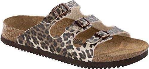 BirkenstockFlorida - Pantofole Donna Marrone (Leopard Classic Dark Brown)