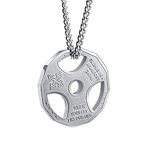 Collar de cadena con enlaces de acero inoxidable con talismán de pesa de gimnasio para hombres, 56cm de longitud