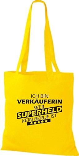 Shirtstown Stoffbeutel Ich bin Verkäuferin, weil Superheld kein Beruf ist gelb