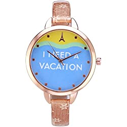 JSDDE Women's Slim Leather Band Rose Gold Case Wrist Watch Casual Vacation Light Brown