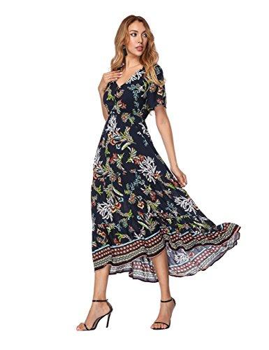 Damen Blumen Maxikleid Bohemien A-Linie Lang Kleider Sommerkleid Partykleid