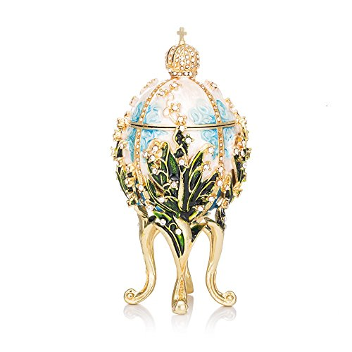 QIFU-Hand Painted Enamelled Faberge Egg Style Decorative Hinged Jewellery Trinket Box Unique Gift For Home Decor