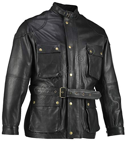 bdfadee2999 Gallanto Black Benjamin Button Biker Mens Long Leather Jacket Motorcycle  Armoured Vintage (S)